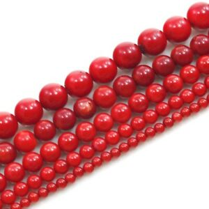 Natural-Red-Sea-Coral-Round-Spacer-Loose-Beads-15-034-3mm-4mm-6mm-8mm-10mm-12mm