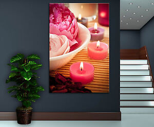 Wall Art Canvas Print Pink Candles Spa Zen Colorful Home