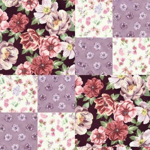 Shabby Purple Mauve Burgundy Violet Rose Floral Pre-cut Quilt Kit Block Fabric