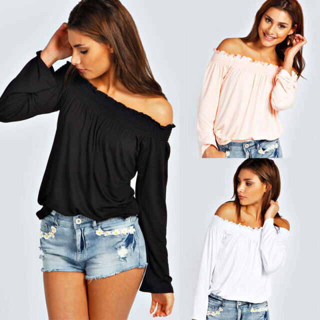 Sexy Fashion Womens Strapless Long off shoulder Sleeve Shirt Casual Blouse Tops