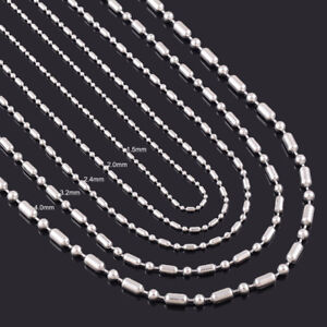 Stainless Steel 24 Inch 3.2  mm Ball Cylinder Link Neck Chain Necklace