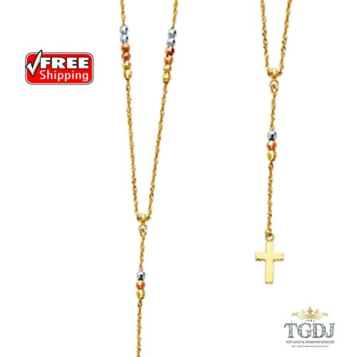 """Rose 2.5mm Beads Ball Rosary Necklace 17+1/"""" White Tri Color 14K Yellow"""