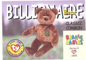TY Beanie Babies BBOC Card - Series 4 Classic Commons - BILLIONAIRE the Bear