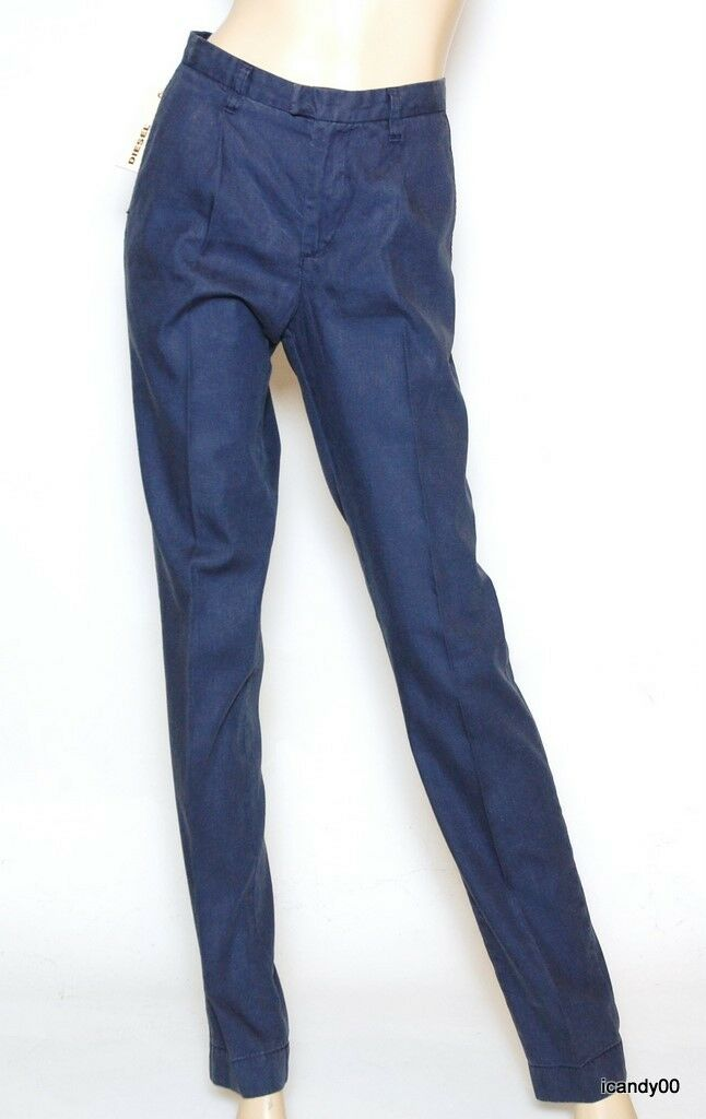 Nwt Diesel Pierre-B Slim Straight Leg Linen Cotton Pants Trousers bluee 29-35