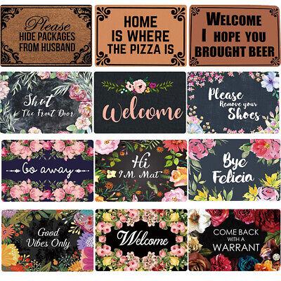 Front Door Mat Funny Welcome Text Entrance Way Indoor Non Slip Rubber Rug Carpet Ebay
