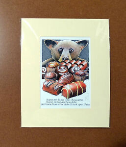 Simon-Drew-Chocolate-Print-Mounted-Matted-Signed-Entertaining-Art