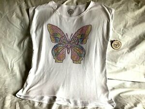 SO-Girl-039-s-White-Butterfly-Shirt-Size-14-100s-Of-Color-Studs-NWT-Gorgeous
