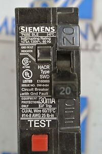 Siemens Ground Fault Equipment Protection 30ma Circuit Breaker BE120