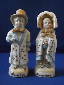 German Porcelain Earthenware Hand Painted Figures Grandma Grandpa