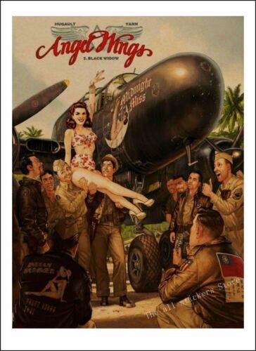 Vintage Pin Up Girls Poster Kraft World War II Plaque Retro Kraft Paper Posters