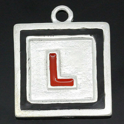 3 SILVER PLATED L PLATE PLAQUES CHARMS/PENDANTS~Hen Party~Driving~Key Ring (7J)