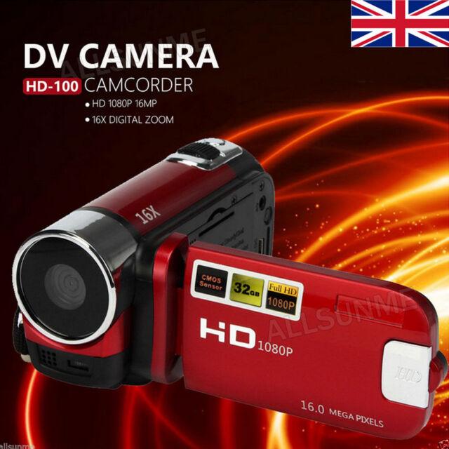 Pro 6.9cm LCD HD 1080p DV 16mp 16x Zoom Cámara de Vídeo Digital SD 32g