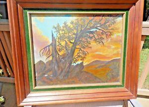 Vintage-1949-Oil-Painting-F-L-Herring-034-Sunset-Snowy-Range-034-Framed-Signed-USA