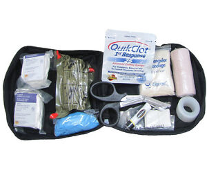 Individual First Aid Kit with Quikclot Black Molle Pouch Tactical Military Ifak
