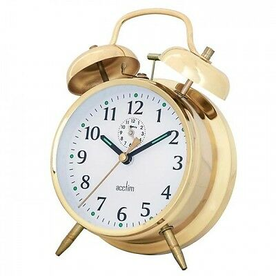 Acctim Saxon Traditional Wind-Up Double Bell Bedside Alarm Clock Brass