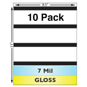 7 Mil Gloss Full Sheet Laminates w/ Magnetic Stripes - 10 Sheets - For Teslin ID