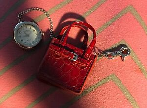 Silver-tone-pocket-purse-watch-clip-on-in-red-pouch-bag-New-Clock-1-3-8-inch