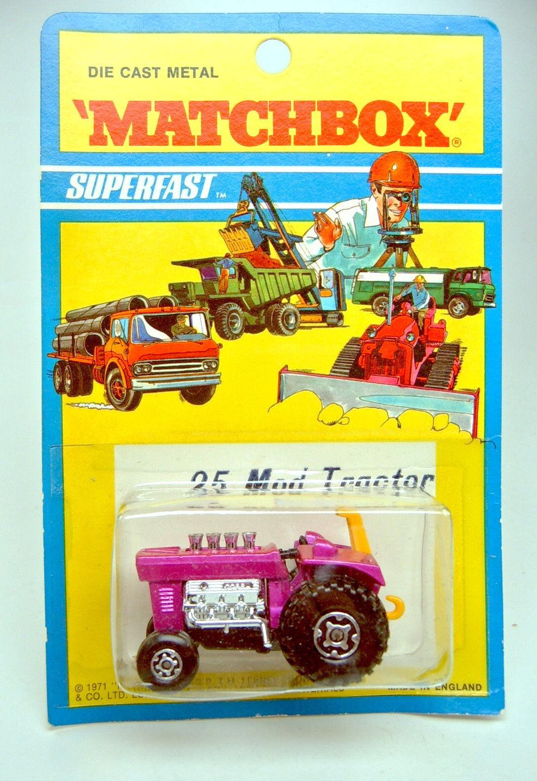 MATCHBOX SUPERFAST n. 25b MOD fari TRACTOR 1. stampo con fari MOD Top BLISTER 16759f