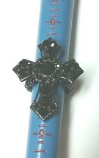 "Big Gothic Black Stoned Cross Stretchy Ring Cross is 1 5/8"" Long"