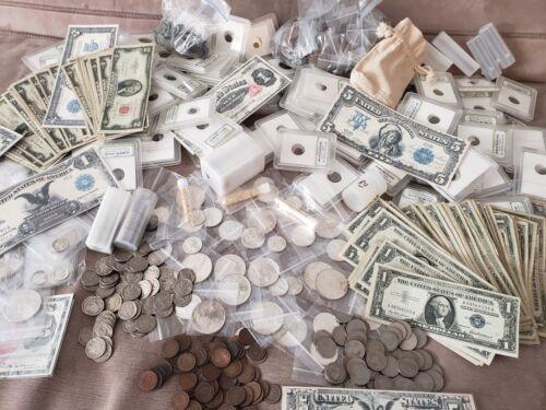 .999 SILVER BARS BULLION BILLS RARE U.S ESTATE LOT FIND OLD US COINS GOLD