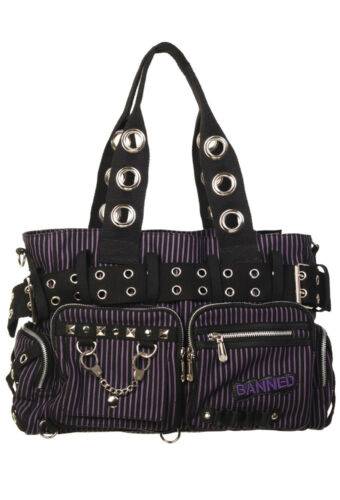 Lost Queen Striped Punk Rock Steampunk Purse with Handcuff Skull Charm