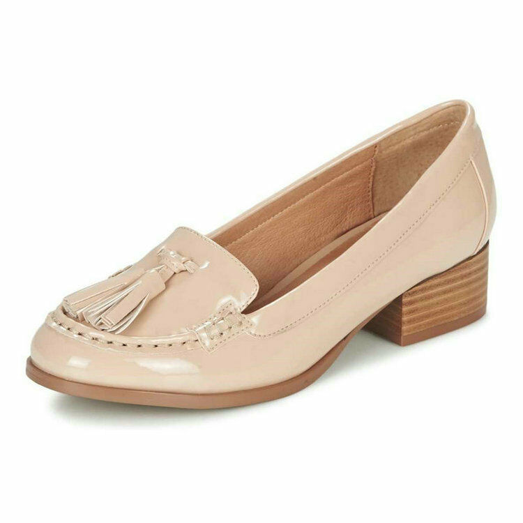 Ladie's Ravel Brantford Nude Low Stack Heel Tassel Slip On Loafers shoes UK 3