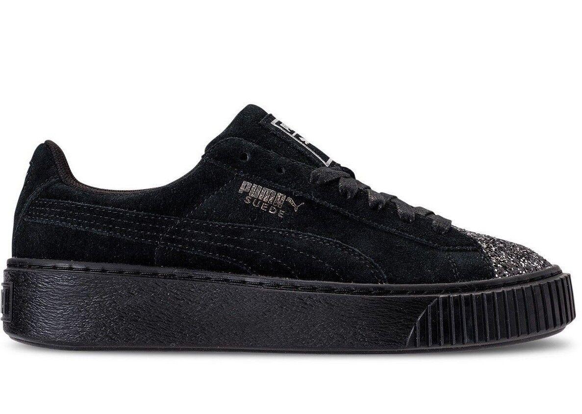 Puma Women's SUEDE PLATFORM CRUSHED GEM Shoes Black 365866-01 b