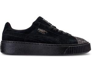 656ea871d3db Puma Women s SUEDE PLATFORM CRUSHED GEM Shoes Black 365866-01 b