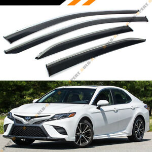 FOR 2018 TOYOTA CAMRY CLIP-ON TYPE CHROME TRIM WINDOW VISOR RAIN ... eabfd1a13a6