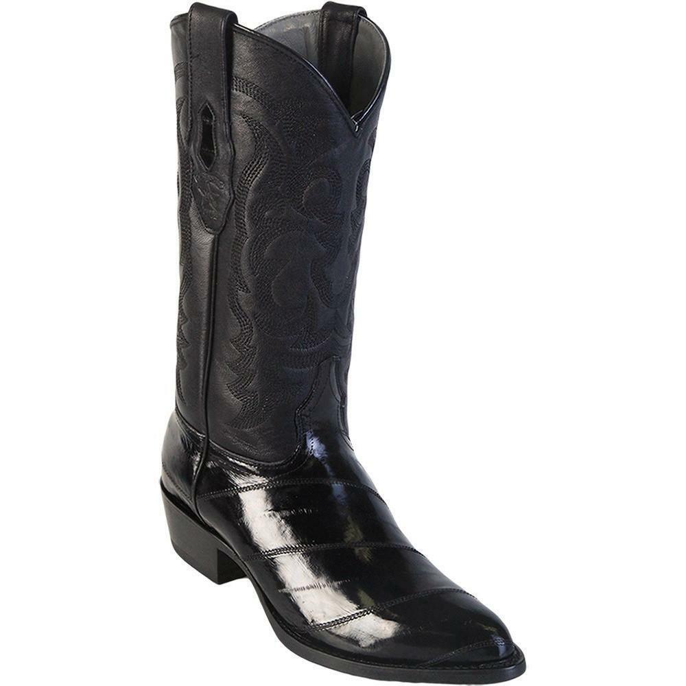 Men's Los Altos Genuino eel Skin Occidental botas De Vaquero Medio Punta rojoonda Hecho a Mano