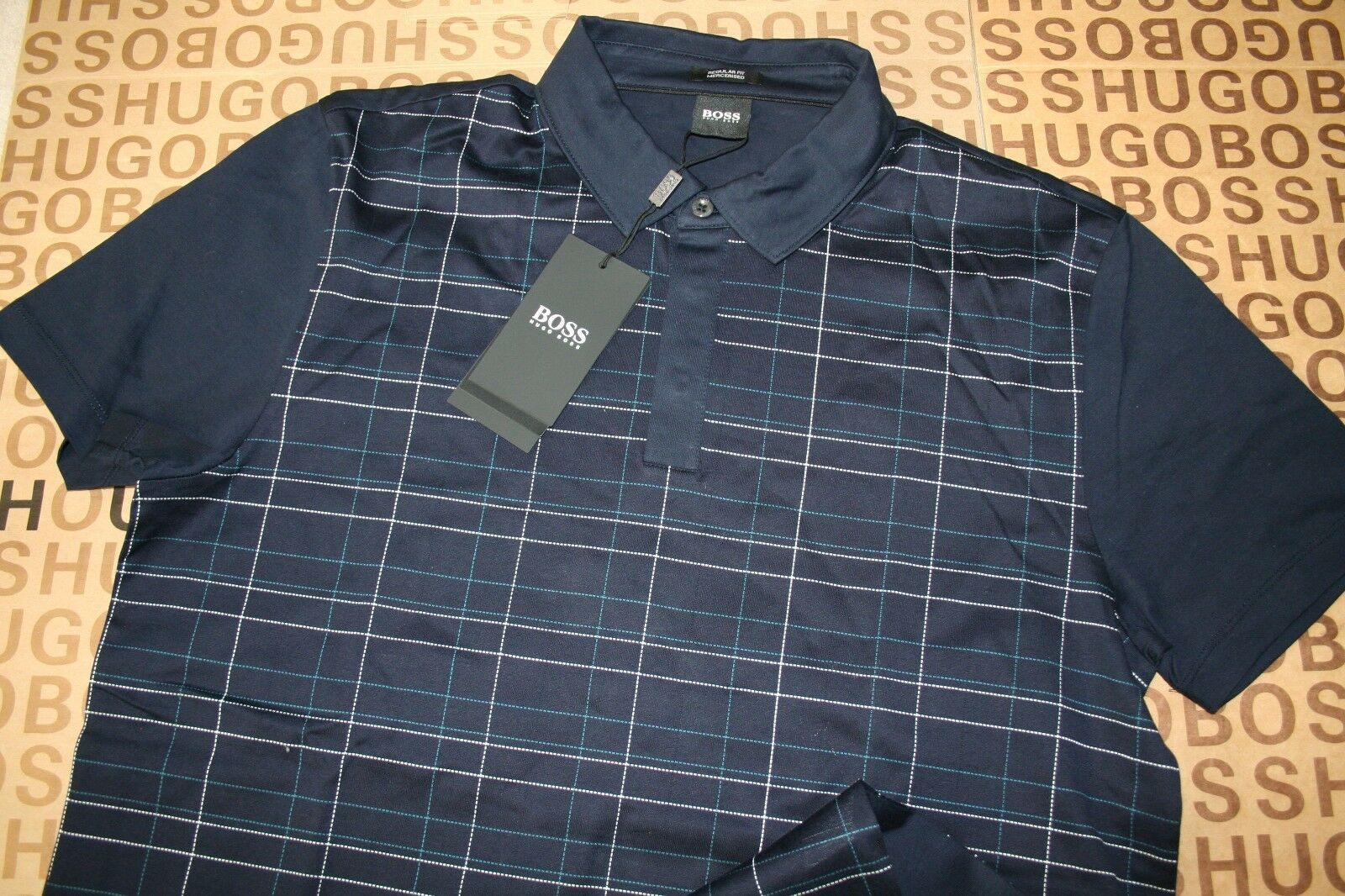 NEW HUGO BOSS MENS blueE TAILORED SELECTION PIMA COTTON SUIT POLO T-SHIRT MEDIUM