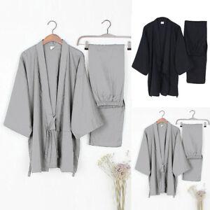 Men-Japanese-Kimono-Yukata-Cotton-Bathrobe-Bath-Robe-Gown-Sleepwear-Pajama-Newly