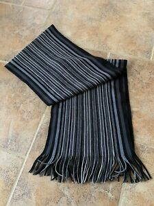 Mens-Next-Black-Grey-Striped-Smart-Warm-Winter-Scarf-Christmas-Present