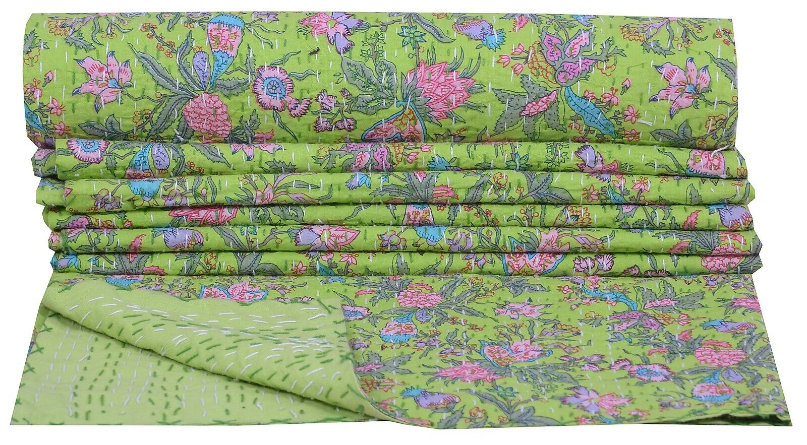 Indian Twin Kantha Quilt Green Bedspread Cotton Blanket Floral Paradise Gudari