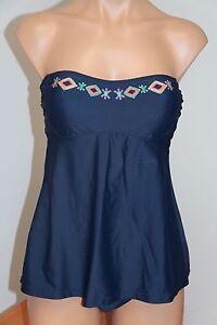eb175bf1caac4 NWT Jessica Simpson Swimsuit Tankini 2 pc set Sz M Navy Strap | eBay