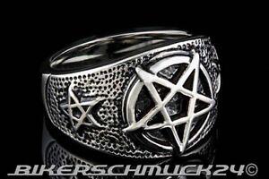 Hexer-Ring Pentagramm Siegelring Edelstahl Magie keltisches Schutzamulett Gothic