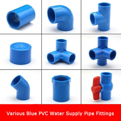 PVC Water Supply Pipe Fittings Blue Straight,Elbow, Tee ,4/5/6-way  Connectors | eBay