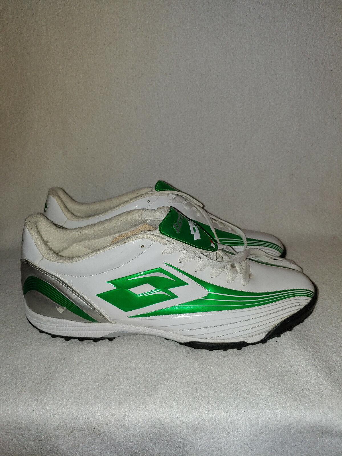Men Lotto White Green Soccer Lacrosse Cleats Athletic Shoe Size 11 44