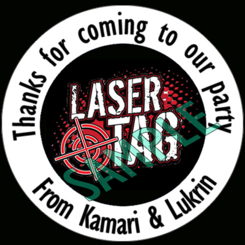 LASER TAG inspired Personalised stickers party bags sweet cone Labels