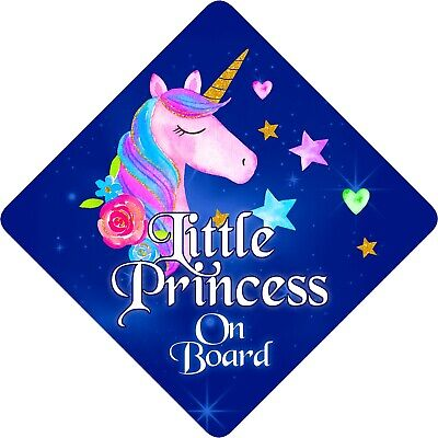 Personalised Child//Baby On Board Car Sign ~ Little Princess On Board ~ Purple
