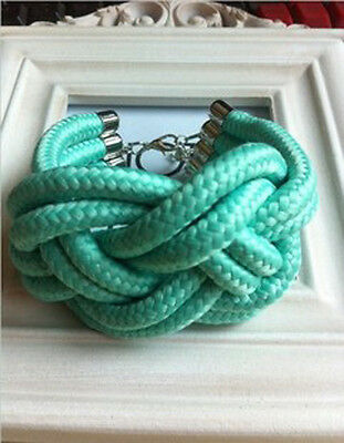 Mixed Fluorescent color Handmade Woven  bracelet Cotton Rope Punk & Retro