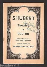 """Cole Porter """"DU BARRY WAS A LADY"""" Ethel Merman / Bert Lahr 1939 Tryout Playbill"""