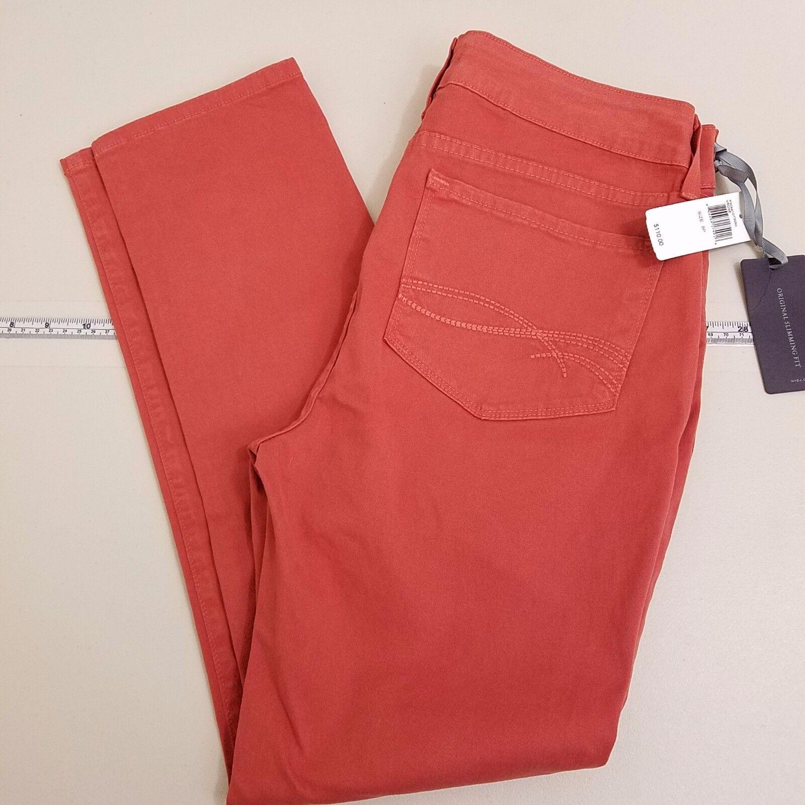 NYDJ Skinny Slim Jeans Women's Size 8P Petite Salmon Pink NEW NWT