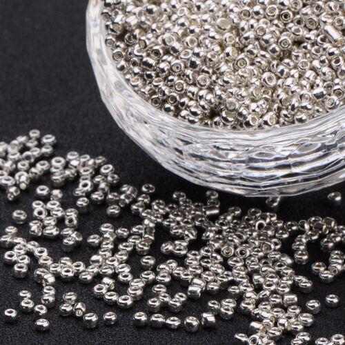 1385 20g Rocailles 2x2mm Silber Glasperlen galvanisiert Glas Perlen