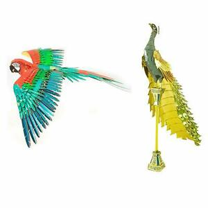 SET-of-2-Fascinations-ICONX-PEACOCK-amp-JUBILEE-MACAW-Parrot-3D-Steel-Model-Kits