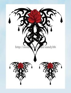 Rose Chest Large 8 25 Amp Amp Quot Half Sleeve Arm Tattoo Face Decor Stickers Ebay