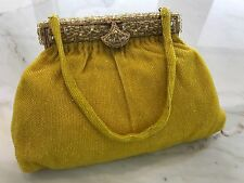 VINTAGE DELILL HAND MADE IN FRANCE YELLOW BEADED EVENING BAG PURSE GOLD HARDWARE