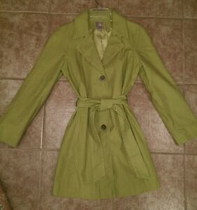 J-JILL-Womens-Size-SMALL-Pea-Green-Ribbed-Corduroy-Trench-Coat-NICE