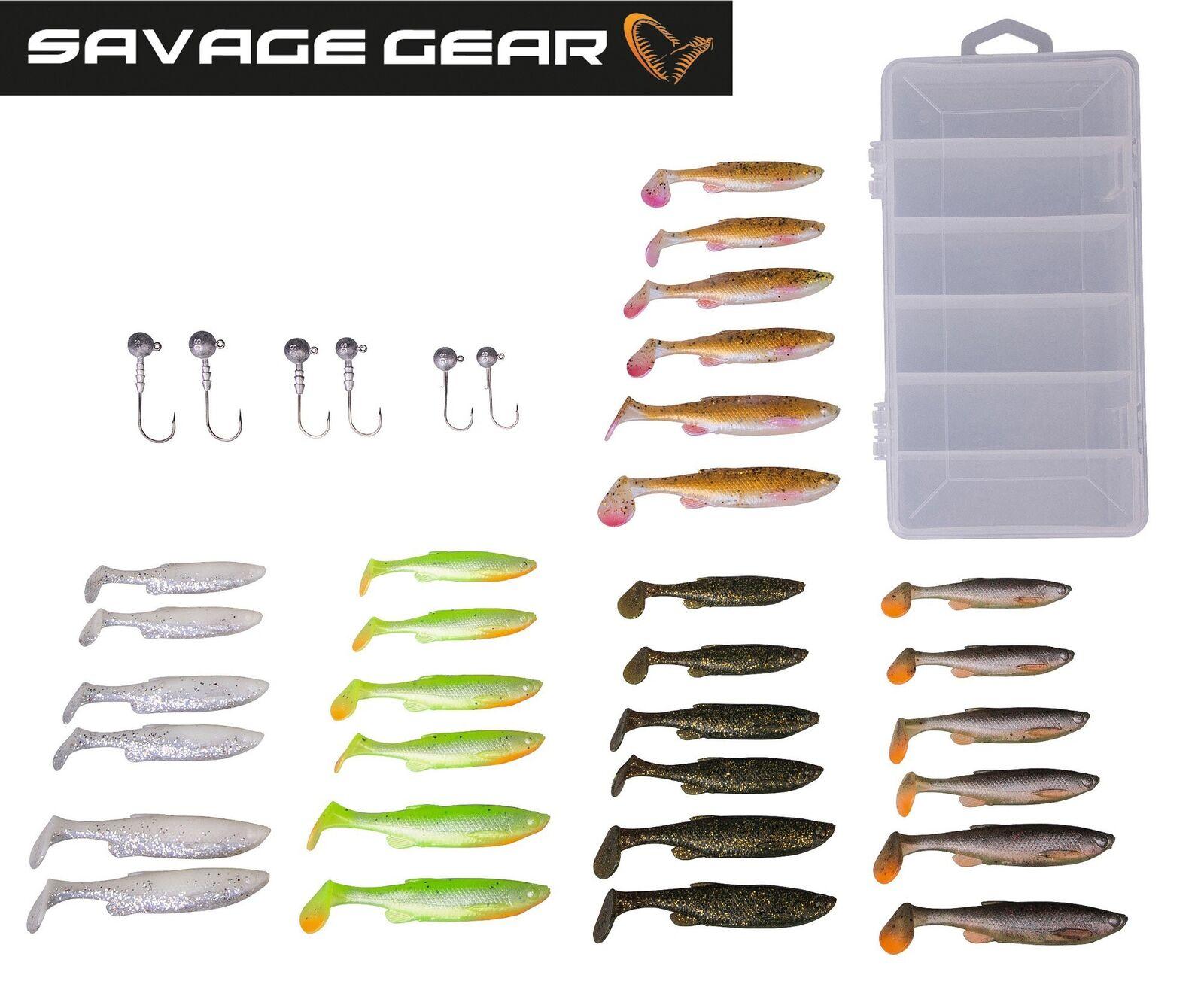 Savage Gear Fat Minnow T-Tail 30 Gummifische +6 Jighaken, Köder zum Spinnangeln  | Moderater Preis