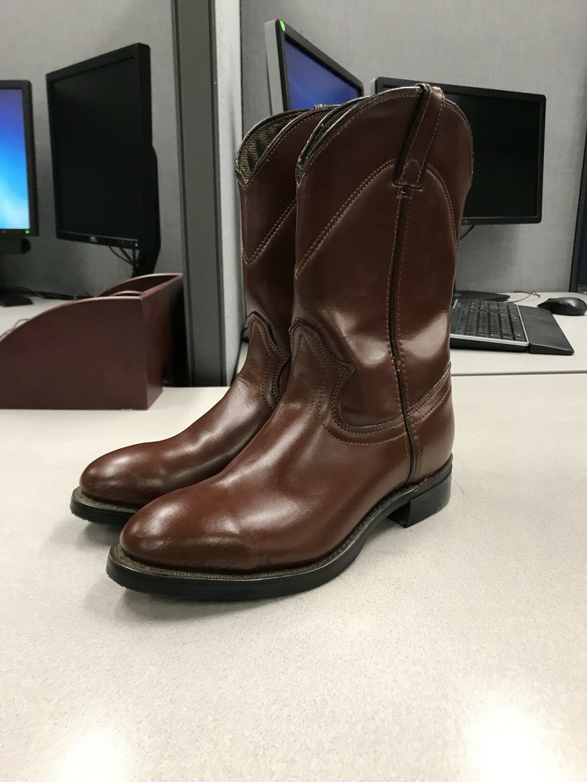 Lehigh homme en cuir marron démarrage Steel Cap Toe taille 7D
